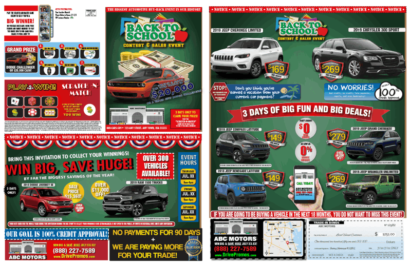 Back to School Automotive Direct Mail Staffed Events Mailers Printers Sale